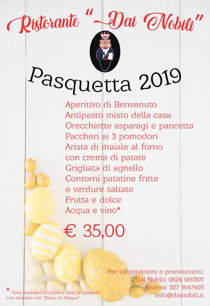 Menu Pasquetta 2019